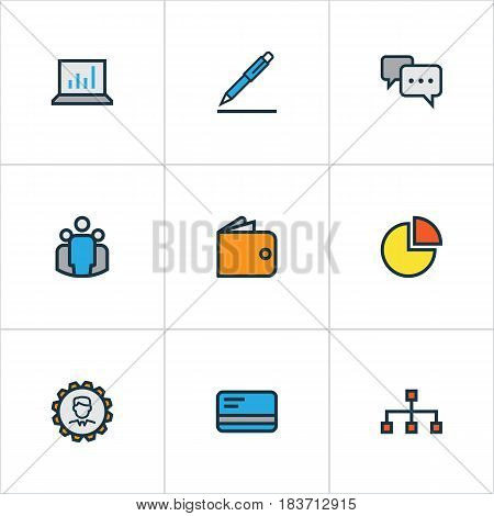 Job Colorful Outline Icons Set. Collection Of Team, Circle Stats, Pencil And Other Elements. Also Includes Symbols Such As Pen, Card, Cash.
