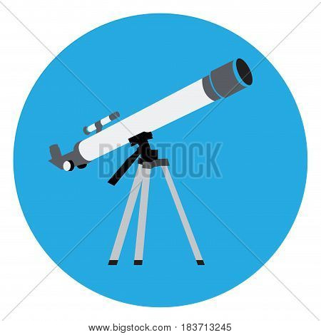 Isolated telescope on a blue button, Vector illustration