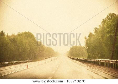 A Road With A Fog