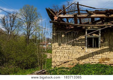 Roztots'ka Pastil' Ukraine - April 25 2017: Fragment of an abandoned old adobe house on the outskirts of the village in the south-western Ukraine.