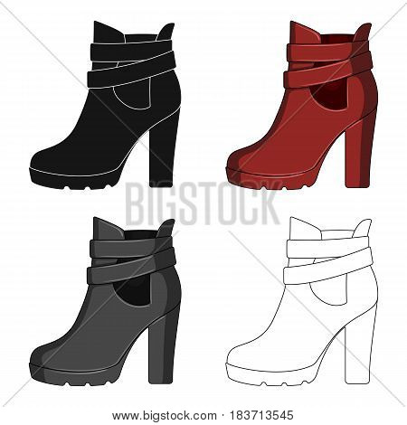 High women red shoes for everyday wear .Different shoes single icon in cartoon style vector symbol stock web illustration.