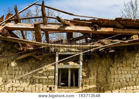 Roztots'ka Pastil' Ukraine - April 25 2017: Abandoned old adobe house on the outskirts of the village in the south-western Ukraine.