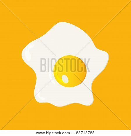 Fried egg illustration made in a flat cartoon style. Fried chicken egg isolated on a yellow background.