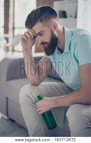 Frustrated Young Bearded Man Is Holding His Head, He Is Upset Because His Favourite Team Lost The Ga