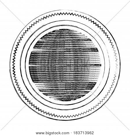 blurred silhouette heraldic circular figure stamp with circles and striped decorative inside vector illustration