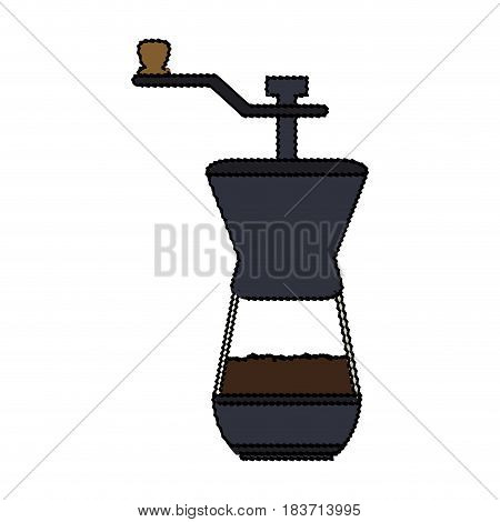 color blurred coffee grinding jar with crank vector illustration