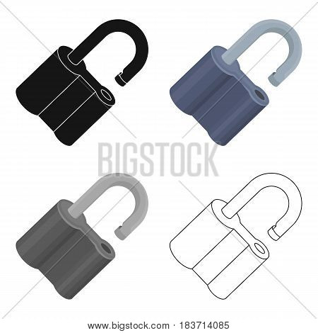 Padlock hacked. The challenge for the Pathfinder to solve the crime.Detective single icon in cartoon style vector symbol stock web illustration.