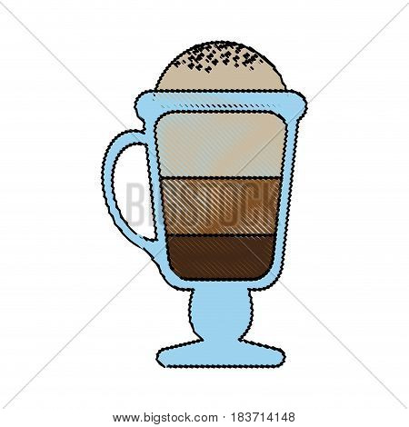 color blurred stripe of glass cup of cappuccino with foam vector illustration
