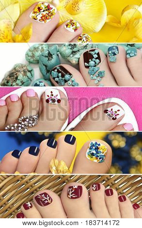 Collage of colorful pedicure with design on nails closeup