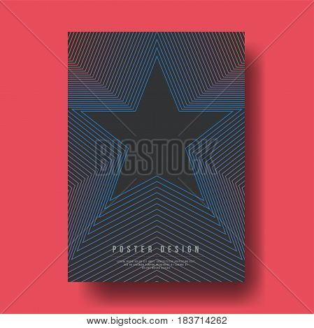 Abstract Geometric Star Shapes Cover Design - Vector illustration template