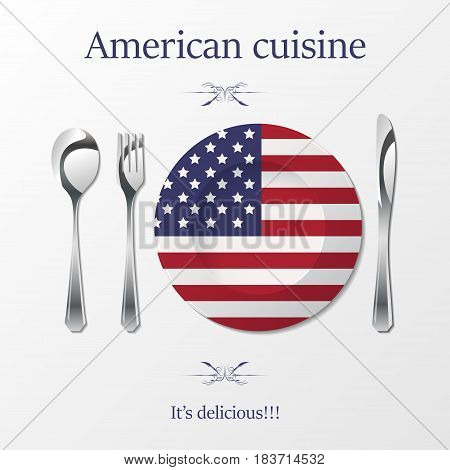 Silhouette of knife, fork, spoon and plate with american flag