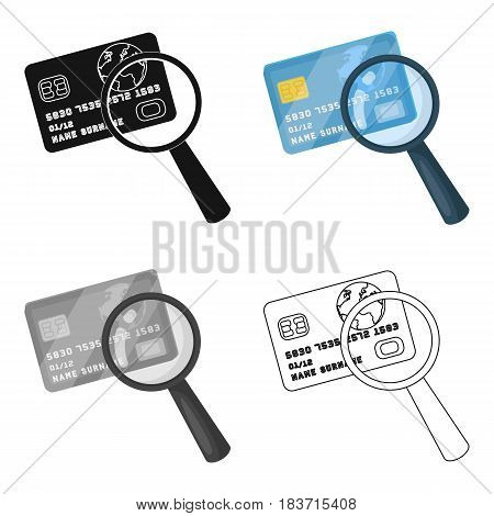 Plastic credit card with a magnifying glass. Detective looking for fingerprints.Detective single icon in cartoon style vector symbol stock web illustration.