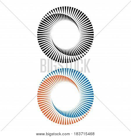 Set of two spirals different colors isolated on white background