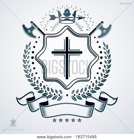 Heraldic Emblem Made Using Graphic Elements Like Hatchets, Crown And Religious Cross, Vector Illustr