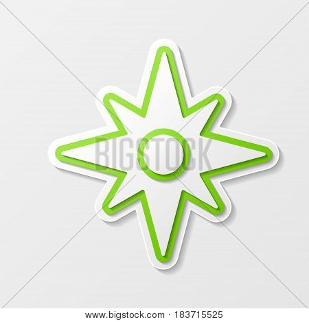 Green wind rose abstract silhouette isolated on white background