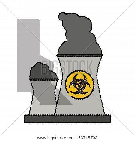color blurred industrial factory icon biohazard vector illustration