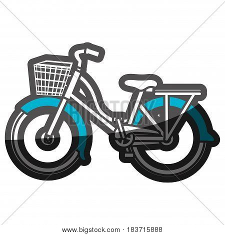 color silhouette with classic bicycle with basket and blue lapped fenders vector illustration