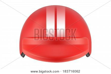 Red motocross racer helmet. Helmet for delivery man. Realistic vector