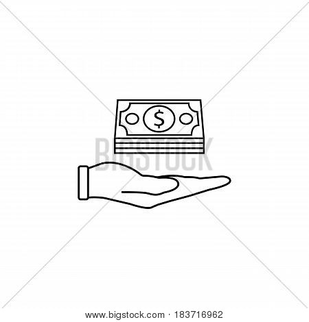 Moneys in hand line icon, finance and business, Bundle of money sign vector graphics, a linear pattern on a white background, eps 10.