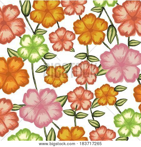 watercolor background of malva flower with stem and leaves vector illustration