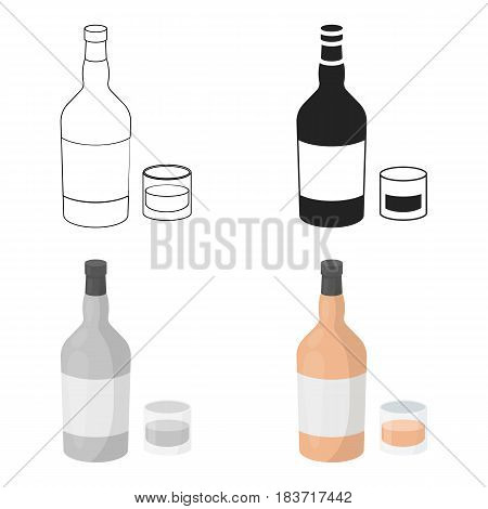 Rum icon in cartoon style isolated on white background. Alcohol symbol vector illustration.