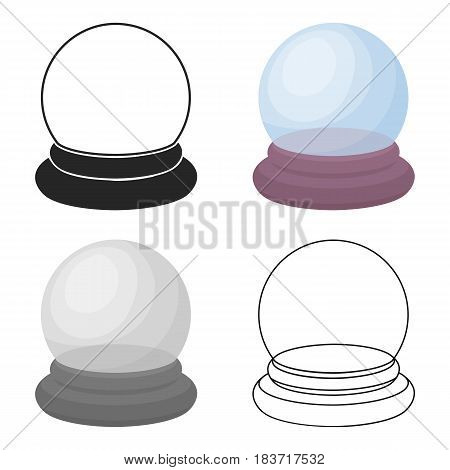 Crystal ball icon in cartoon style isolated on white background. Black and white magic symbol vector illustration.