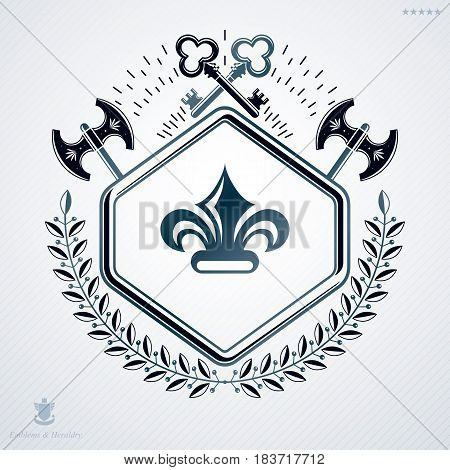 Luxury Heraldic Vector Emblem Template Made Using Hatchets And Security Keys