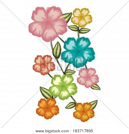 watercolor card of malva flower with stem and leaves vector illustration