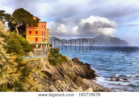Colorful painting of fishing village, Liguria, Italy