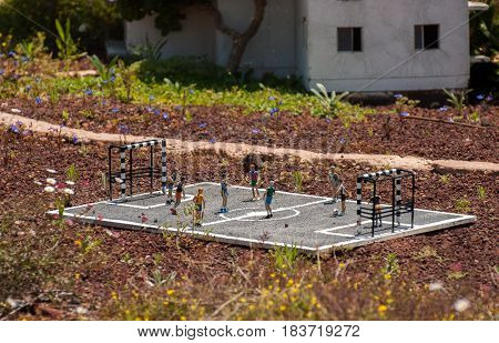 Miniature Of Football Field Or Soccer Field With Soccer Players At Mini Israel - A Miniature Park Lo
