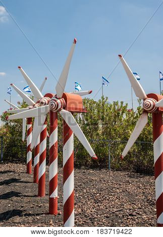 Miniature Of Wind Turbine Rows, At Mini Israel - A Miniature Park Located Near Latrun