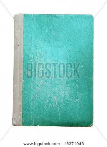 old green notebook isolated on white background