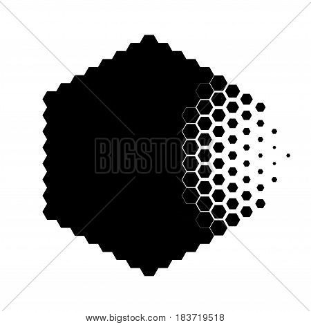 Abstract concept of destroying particle, dissolution. Black and white scheme of erosion. Vector illustration. Hexagonal nanoparticle. Monochrome scientific background.