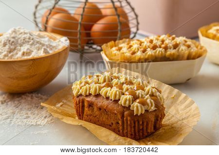Small cake stuffed with Dulce de leche is a traditional dessert from Argentina made by caramelizing sugar in milk.
