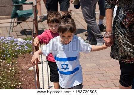 Undefined Little Girl With Israeli Flag On Her Dress