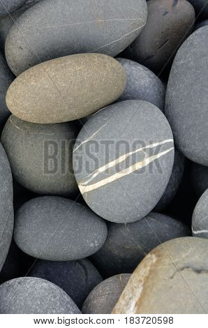 Zen stack of gray pebbles