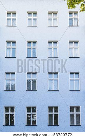 Blue Facade Of A Building In Berlin Kreuzberg