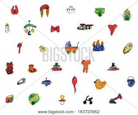 Colorful Set Of Children's Illustrations In Watercolor Style. Accessories, Clothing And Toys For New
