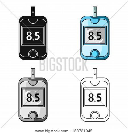 A device for measuring the level of blood sugar.Equipping the patient with diabetes.Diabetes single icon in cartoon style vector symbol stock web illustration.