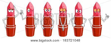 Set of Lipstick characters isolated on white background. Funny cartoon emotions (emoji) in simple gradients.