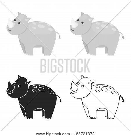 Rhinoceros icon cartoon. Singe animal icon from the big animals cartoon.