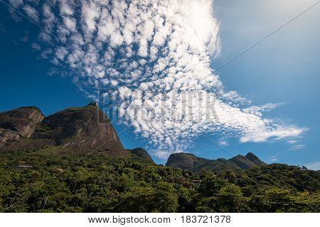 Famous Rio de Janeiro Mountains - Pedra da Gavea and Pedra Bonita - Under Blue Sky