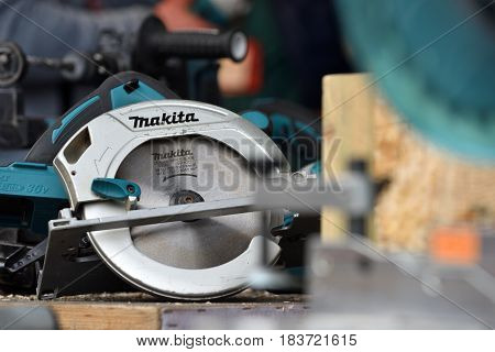 VILNIUS LITHUANIA - APRIL 27: Professional electric Makita brand tools on April 27 2017 in Vilnius Lithuania. Makita Corporation founded on March 21 1915 it is based in Japan.