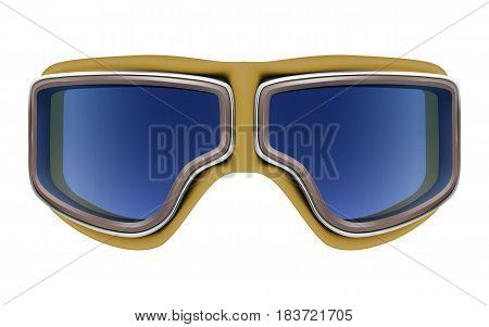 Realistic 3D retro leather yellow aviator goggles for motorcyclist or airplane