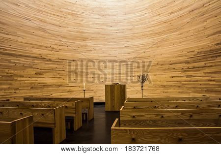 Helsinki, Finland - April, 09, 2017: Inside the Chapel of Silence (Kampin kappeli in finnish) which located in a corner of the Narinkkatori square in Helsinki
