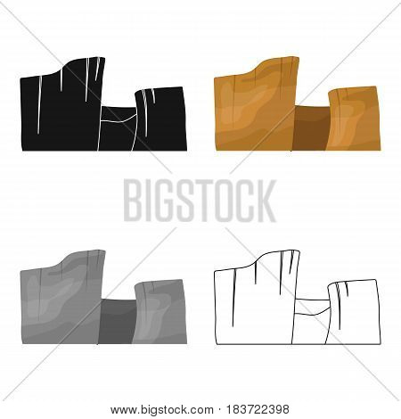 Rectangular high mountains of Sandstone.Desert mountains.Different mountains single icon in cartoon style vector symbol stock web illustration.