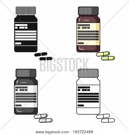 Bottle with pills of insulin.Pills for diabetes.Medications diabetic.Diabetes single icon in cartoon style vector symbol stock web illustration.