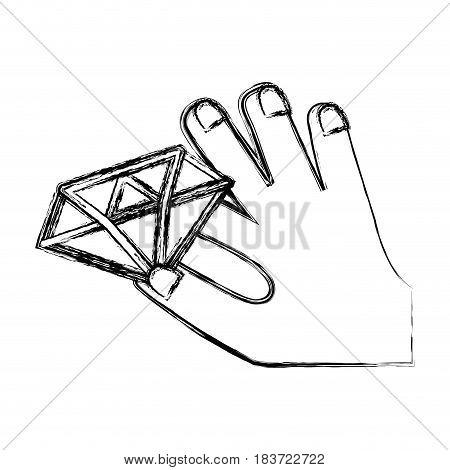 figure luxury diamond cristal gem in the hand, vector illustration