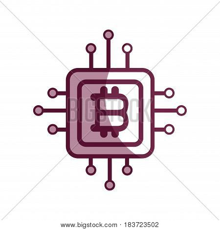 contour bitcoin currency sign with circuits network, vector illustration