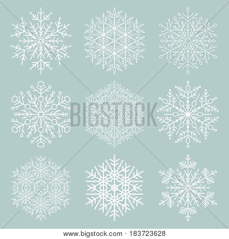 Set of vector snowflakes. Fine winter ornament. Snowflakes collection. Snowflakes for backgrounds and designs